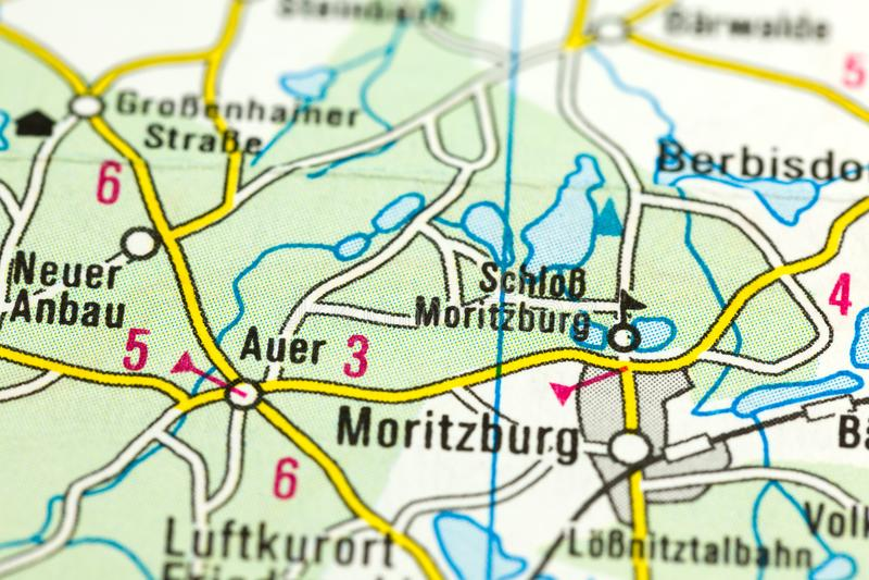 Moritzburg slott på översikten, Sachsen fotografering för bildbyråer