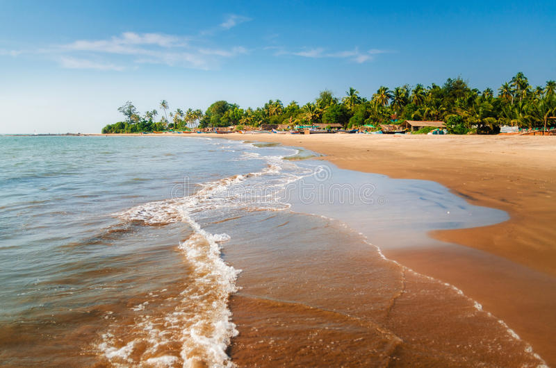 Morjim海滩 木渔船和棕榈树,果阿,印度 免版税库存照片