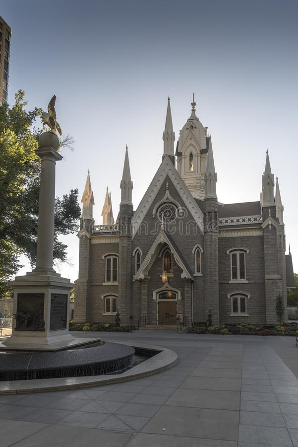 Mormon Assembly hall and Seagull monument Temple Square Salt Lake City. Salt Lake Temple is the centerpiece of the 10-acre 4.0 ha Temple Square in Salt Lake stock images
