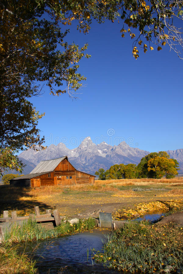 Mormon barn. Historic Mormon barn in the scenic Grand Tetons national park stock photo