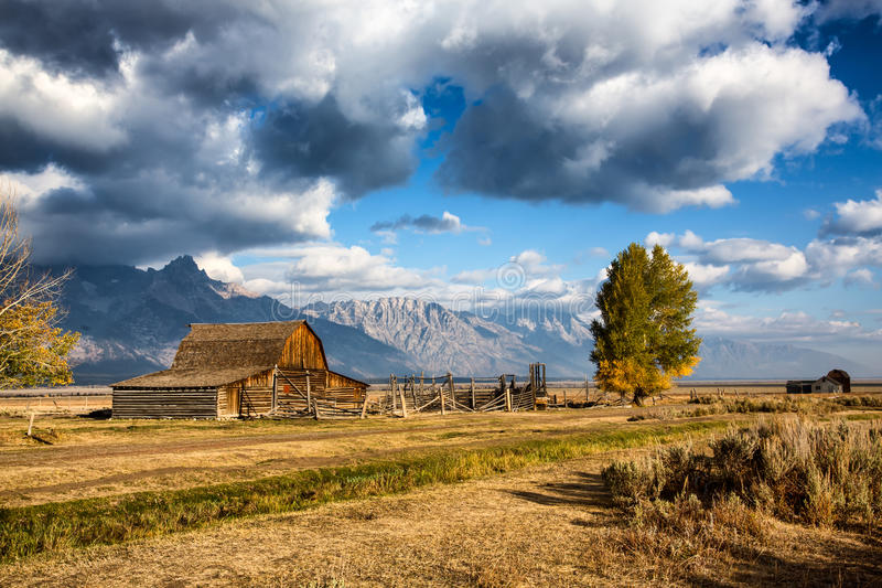 Mormon barns. Historic mormon barns against Teton mountains in Grand Teton National Park royalty free stock photography