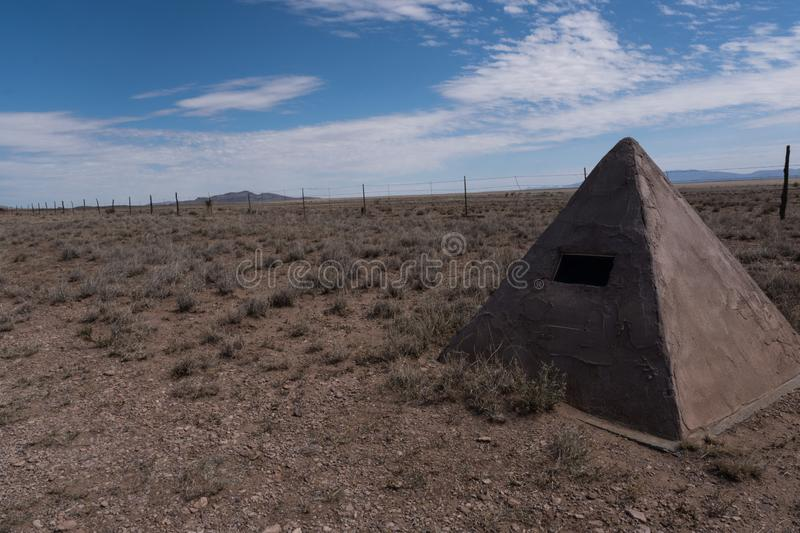 A Mormon Battalion historic marker in the desert of New Mexico. Marking part of a 2000 mile trek for 500 men in 1846 byway hillsboro lake nutt scenic usa stock image