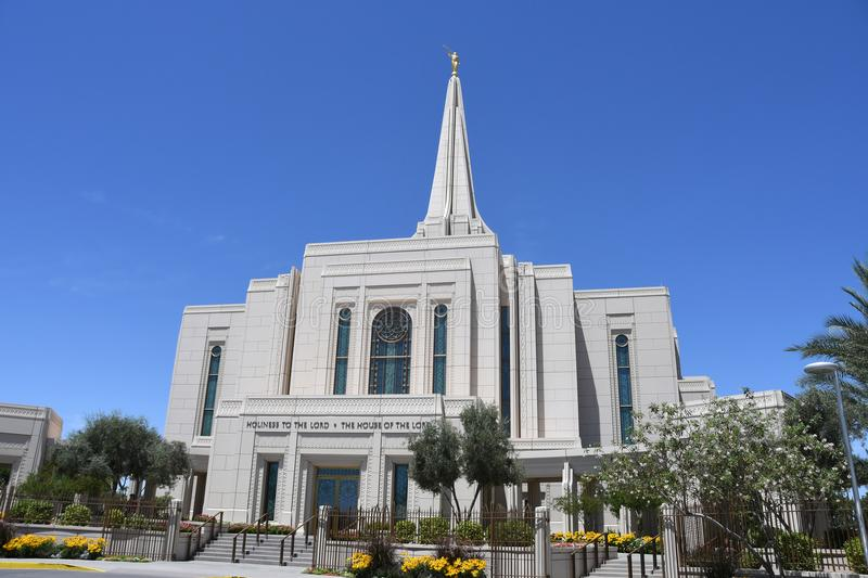 The Mormon Gilbert Arizona Temple In Gilbert Arizona. The Mormon Gilbert Tempe is a temple of The Church of Jesus Christ of Latter-day Saints, in the town of royalty free stock photography