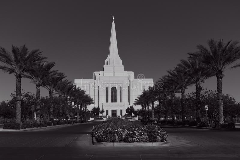 The Mormon Gilbert Arizona Temple In Gilbert Arizona. The Mormon Gilbert Tempe is a temple of The Church of Jesus Christ of Latter-day Saints, in the town of royalty free stock images