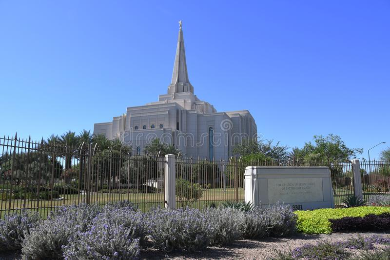 The Mormon Gilbert Arizona Temple In Gilbert Arizona. The Mormon Gilbert Tempe is a temple of The Church of Jesus Christ of Latter-day Saints, in the town of royalty free stock photo