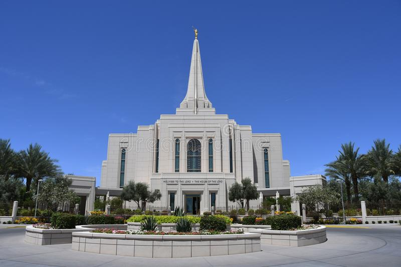 The Mormon Gilbert Arizona Temple In Gilbert Arizona. The Mormon Gilbert Tempe is a temple of The Church of Jesus Christ of Latter-day Saints, in the town of stock photography