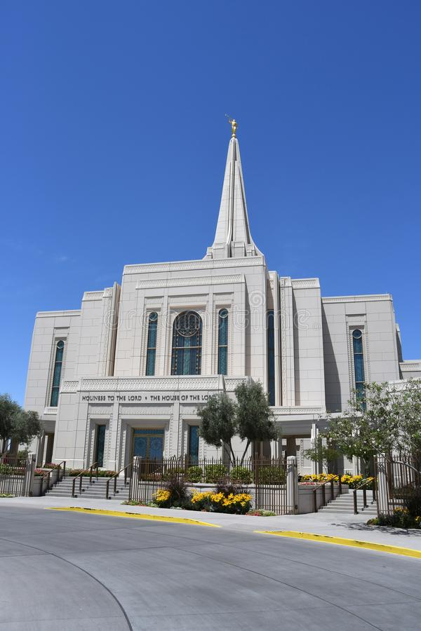 The Mormon Gilbert Arizona Temple In Gilbert Arizona. The Mormon Gilbert Tempe is a temple of The Church of Jesus Christ of Latter-day Saints, in the town of stock photos