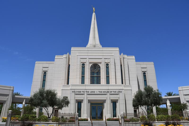 The Mormon Gilbert Arizona Temple In Gilbert Arizona. The Mormon Gilbert Tempe is a temple of The Church of Jesus Christ of Latter-day Saints, in the town of royalty free stock image