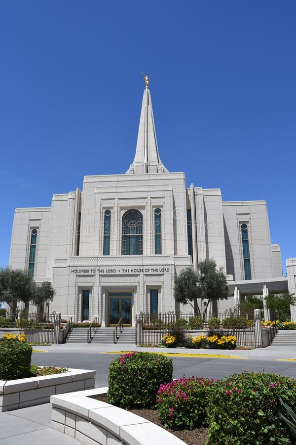 The Mormon Gilbert Arizona Temple In Gilbert Arizona. The Mormon Gilbert Tempe is a temple of The Church of Jesus Christ of Latter-day Saints, in the town of stock photo