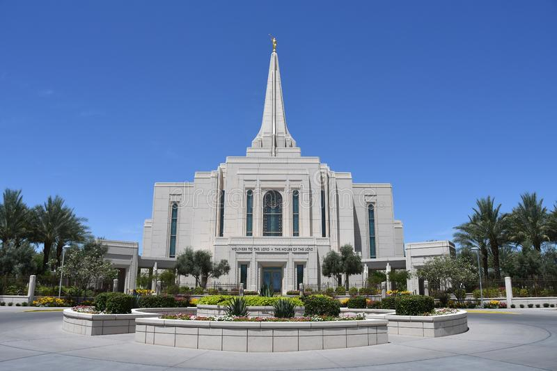 The Mormon Gilbert Arizona Temple In Gilbert Arizona. The Mormon Gilbert Tempe is a temple of The Church of Jesus Christ of Latter-day Saints, in the town of stock image