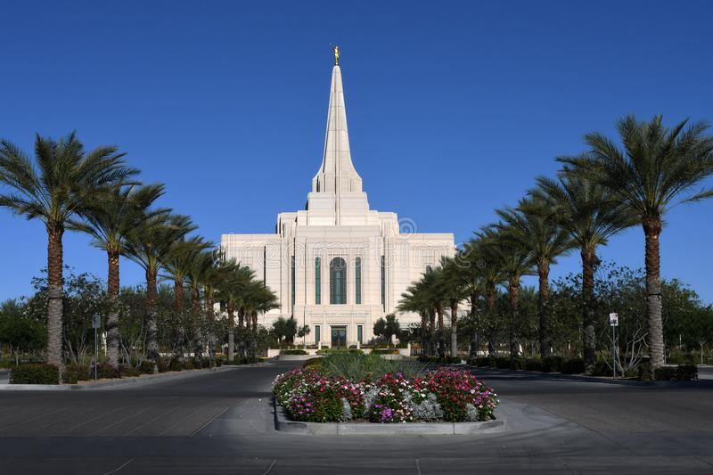 The Mormon Gilbert Arizona Temple In Gilbert Arizona. The Mormon Gilbert Tempe is a temple of The Church of Jesus Christ of Latter-day Saints, in the town of royalty free stock photos