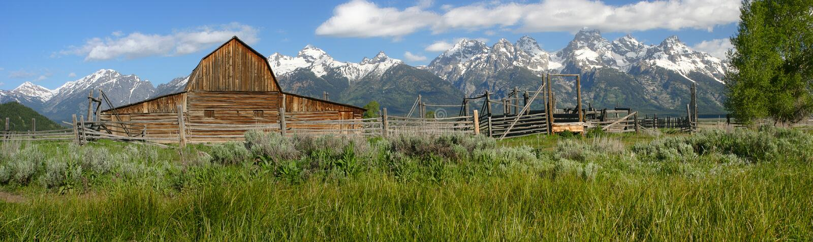 Mormon Row Barn. Panoramic of barn at Mormon Row in spring, Grand Teton National Park royalty free stock image