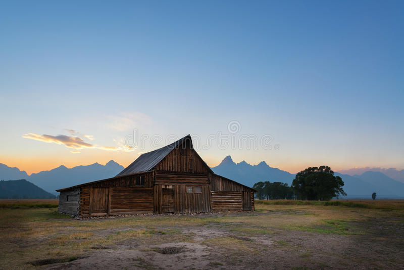 Mormon Row Sunset. One of the Moulton Barns on Mormon Row during a sunset stock images