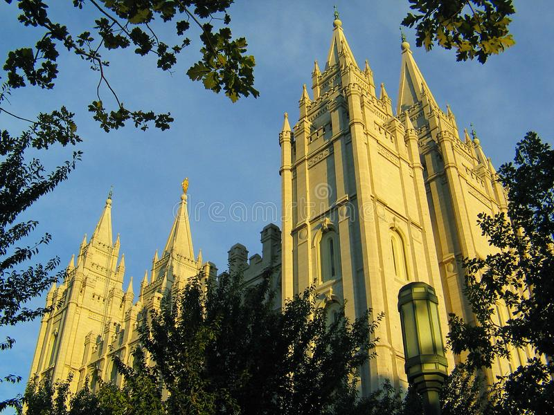 Mormon Salt Lake City Temple. During the golden hour at dusk. The largest LDS temple, Dedicated in 1893, it is the sixth temple completed by the church stock images