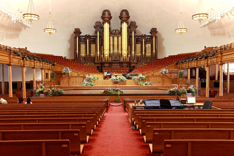 Mormon Tabernacle,Utah. Interior of the Mormon Tabernacle building at Temple Square, Salt Lake City, Utah royalty free stock photo