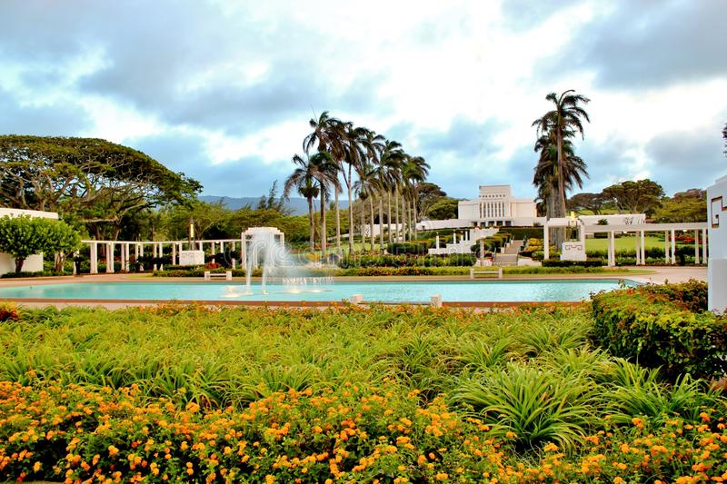 Mormon Temple 2. Mormon Temple and grounds in Laie, Hawaii on the island of Oahu stock images