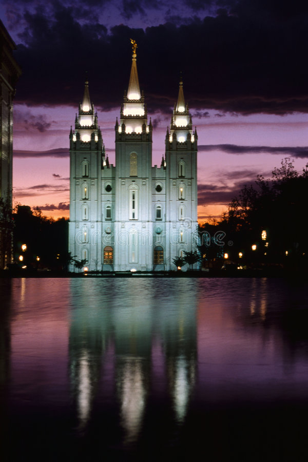 Mormon Temple. In dask, Salt Lake City, Utah royalty free stock photo