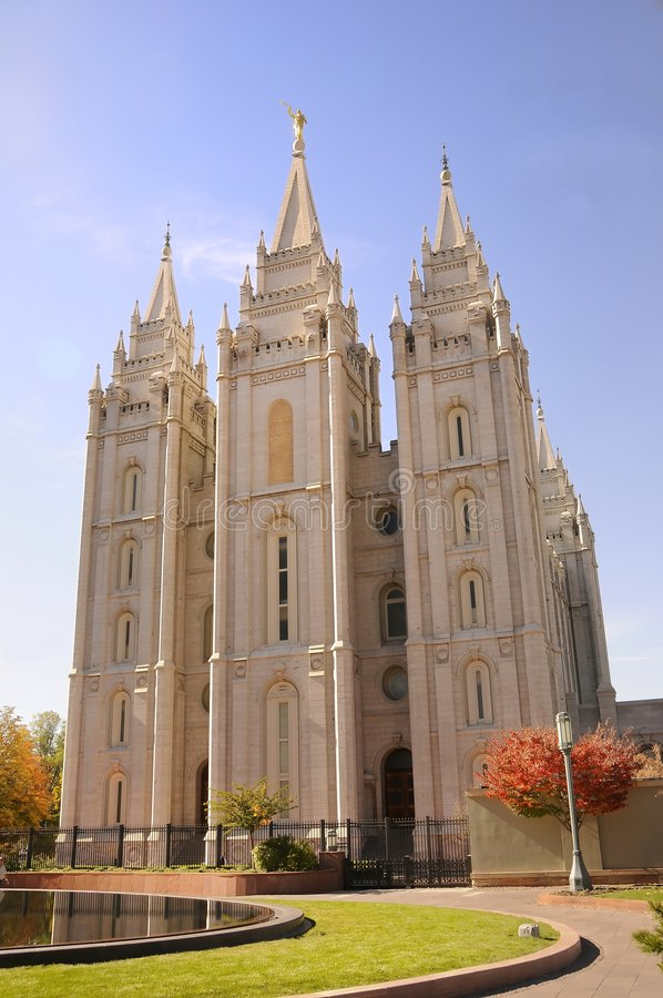Mormon temple. A front facing view of a mormon temple stock image