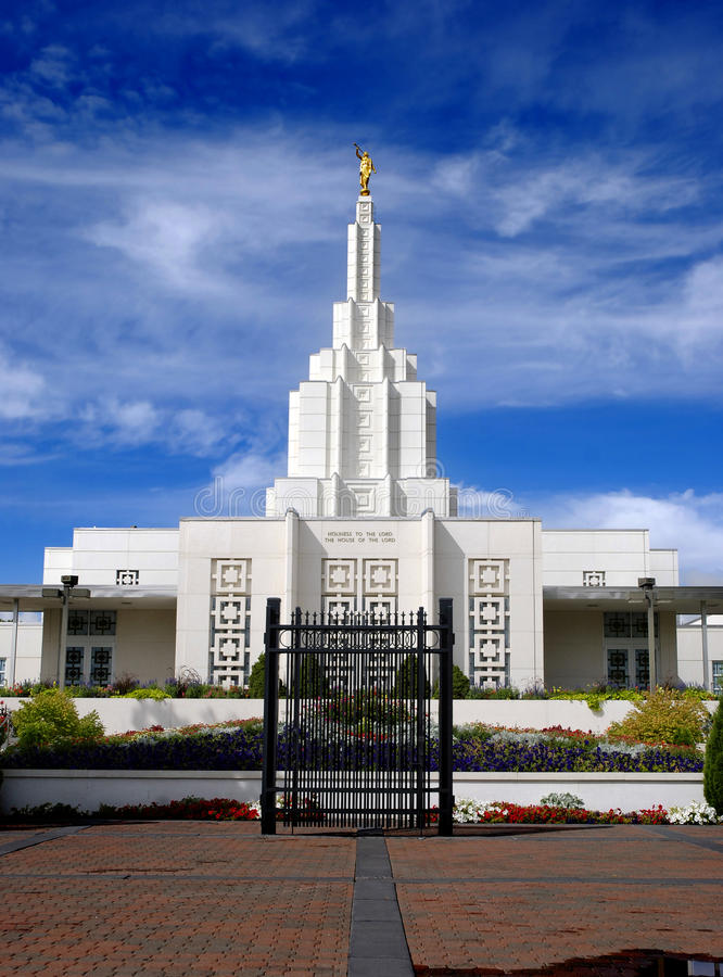 Mormon Temple Idaho Falls. Mormon Temple in Idaho Falls with blue sky and clouds in background stock photography