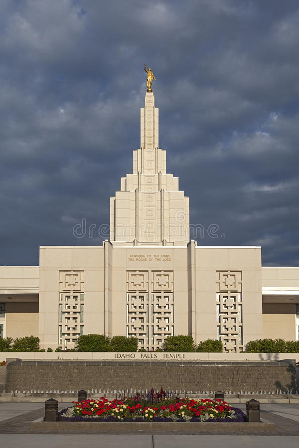 Mormon Temple in Idaho Falls, ID. Mormon Temple - The Idaho Falls Idaho Temple is the 18th operating temple of The Church of Jesus Christ of Latter-day Saints royalty free stock images