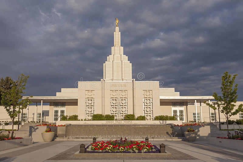 Mormon Temple in Idaho Falls, ID. Mormon Temple - The Idaho Falls Idaho Temple is the 18th operating temple of The Church of Jesus Christ of Latter-day Saints stock image