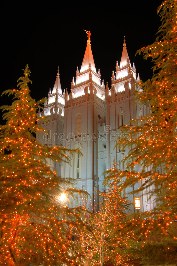 Mormon temple salt lake city. A scene from Temple Square in Salt Lake city at night near Christmas