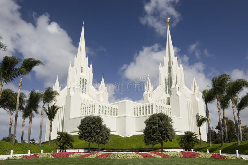 Mormon Temple - San Diego, California. A Temple of the Church of Jesus Christ of Latter-day Saints in San Diego, California royalty free stock image