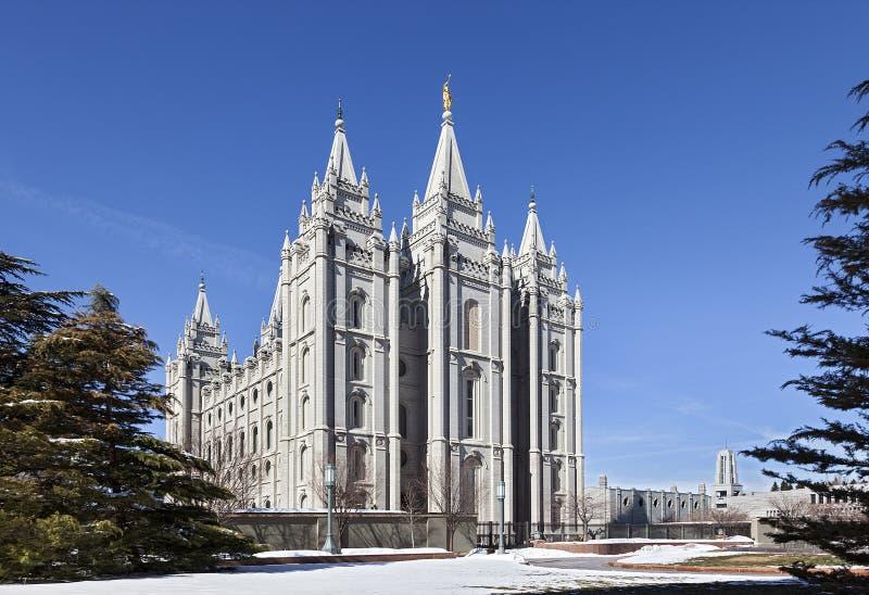 Mormonischer Tempel - der Salt Lake-Tempel, Utah lizenzfreies stockbild