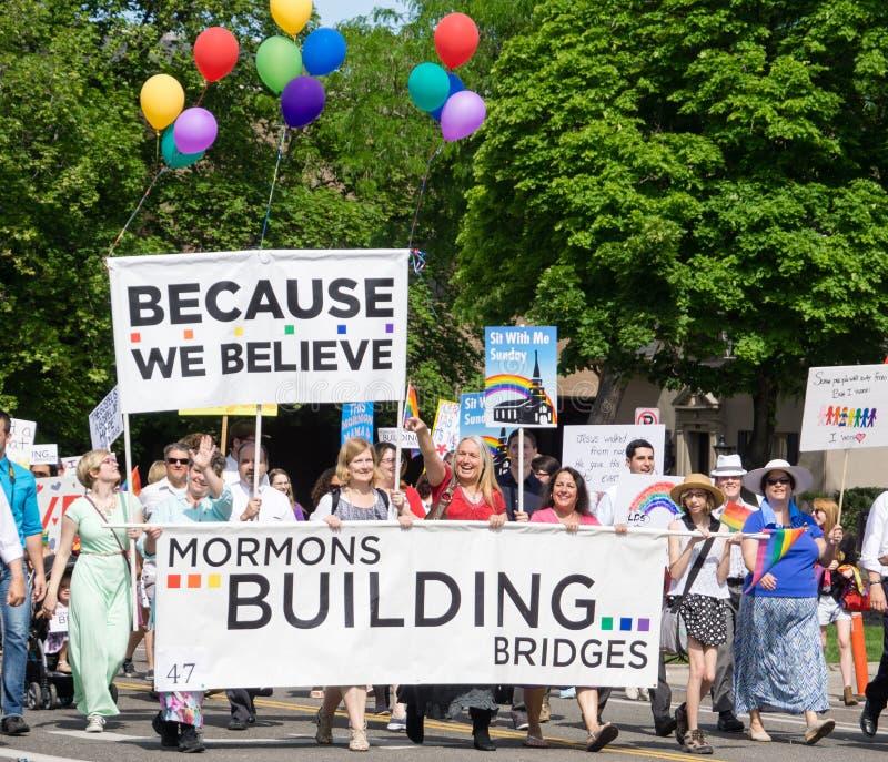 Mormons building bridges at the Salt Lake City Gay Pride Parade stock photos