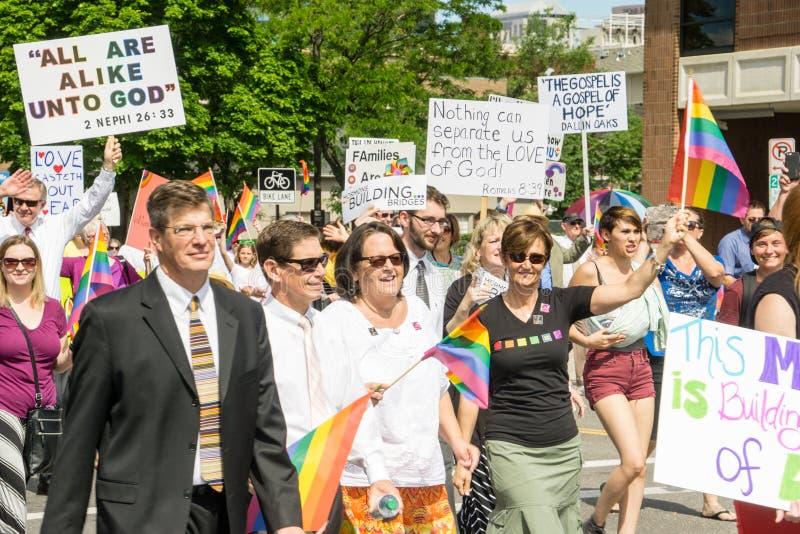 Mormons building bridges at the Salt Lake City Gay Pride Parade royalty free stock photo