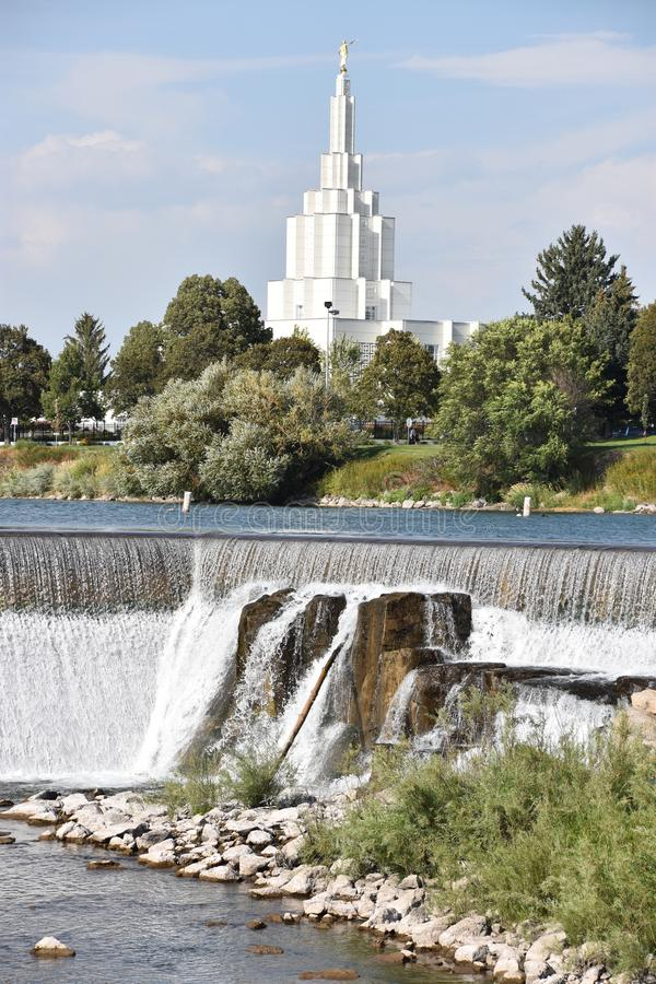 Mormoonse Tempel bij de Dalingen van Idaho van Idaho royalty-vrije stock foto