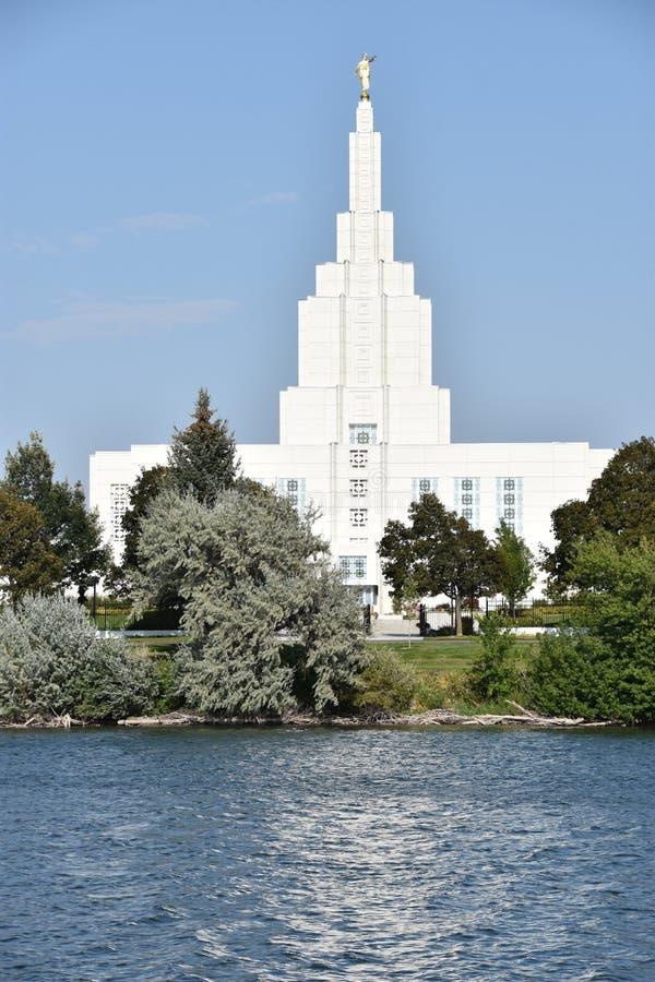 Mormoonse Tempel bij de Dalingen van Idaho van Idaho royalty-vrije stock foto's
