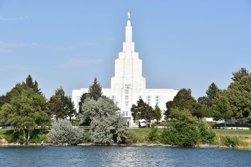 Mormoonse Tempel bij de Dalingen van Idaho van Idaho stock afbeeldingen