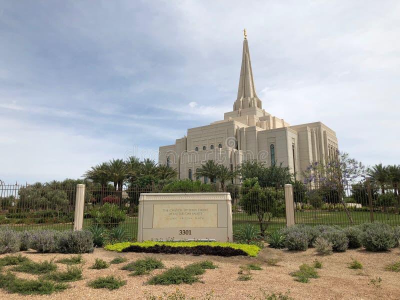 Mormoonse Tempelkerk in Gilbert Arizona stock foto