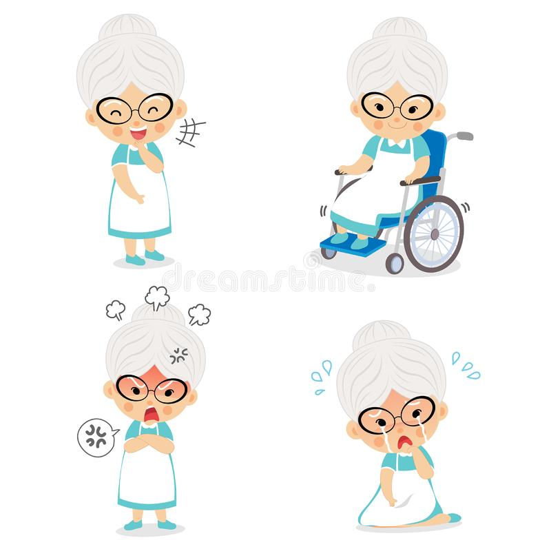 Mormor i olika ställingar och uttryckasinnesrörelser vektor illustrationer