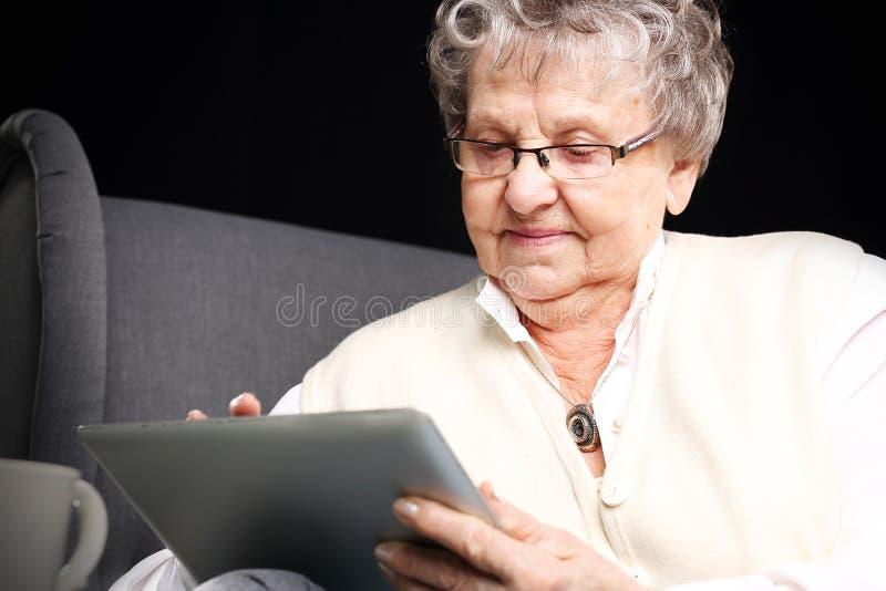 Mormor och datoren royaltyfri bild
