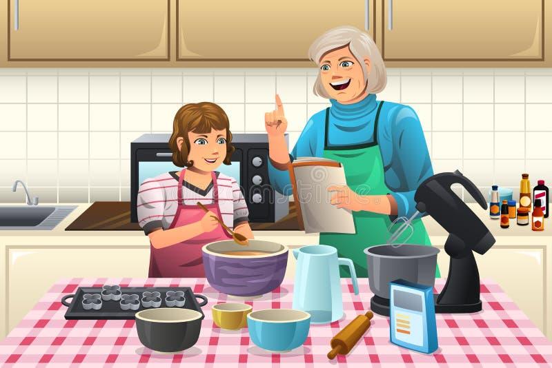 Mormor som förbereder kakor royaltyfri illustrationer