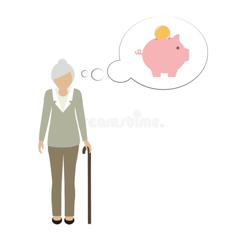 Mormortecken för gammal kvinna som tänker om sparande pengar i spargrisen royaltyfri illustrationer