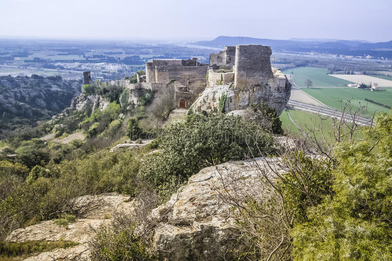 Mornas fortress, France. Mornas is a commune in the Vaucluse department in the Provence-Alpes-Côte d`Azur region in southeastern France stock images