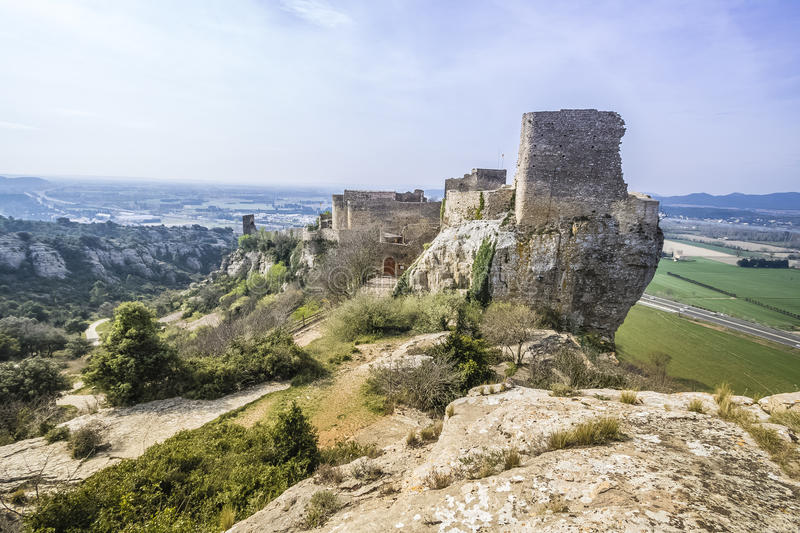 Mornas Fortress, France. Mornas is a commune in the Vaucluse department in the Provence-Alpes-Côte d`Azur region in southeastern France stock photography
