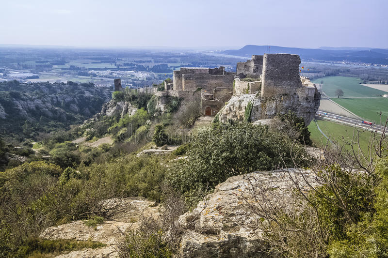 Mornas fortress, France. Mornas is a commune in the Vaucluse department in the Provence-Alpes-Côte d`Azur region in southeastern France royalty free stock photo