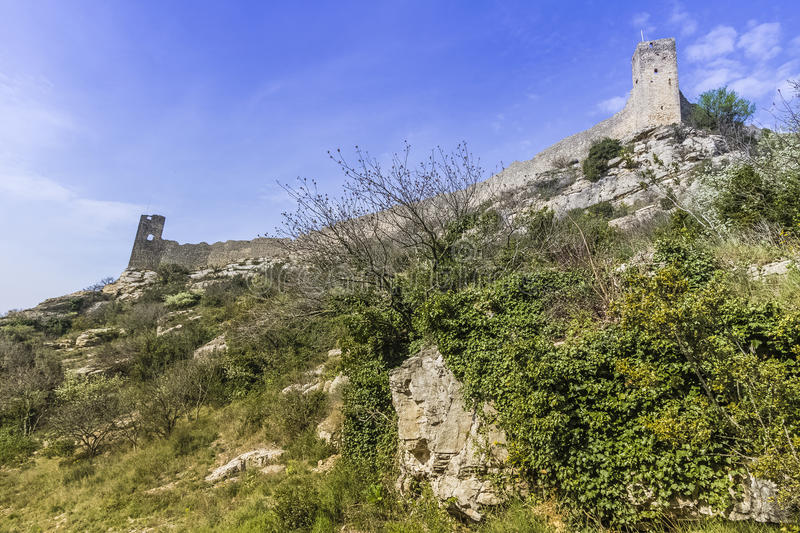 Mornas fortress, France. Mornas is a commune in the Vaucluse department in the Provence-Alpes-Côte d`Azur region in southeastern France royalty free stock image
