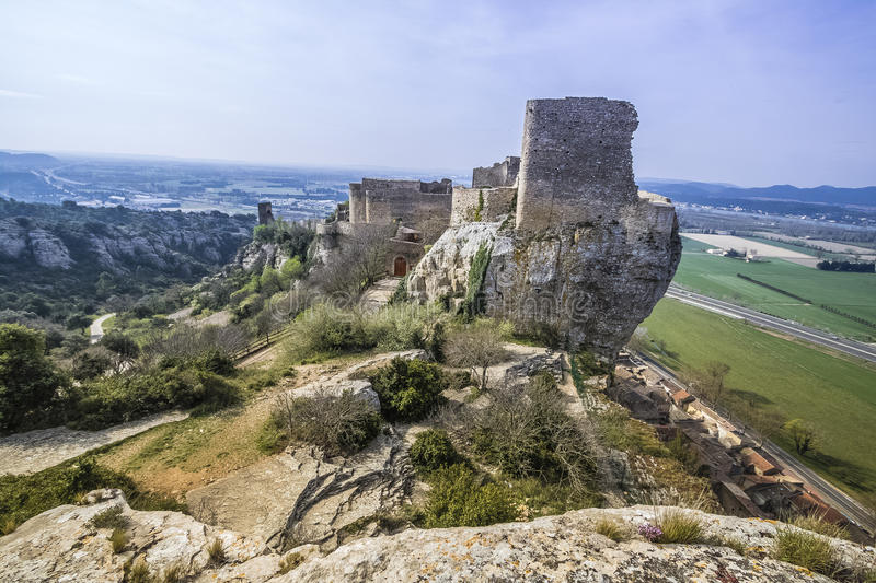 Mornas fortress, France. Mornas is a commune in the Vaucluse department in the Provence-Alpes-Côte d`Azur region in southeastern France royalty free stock images