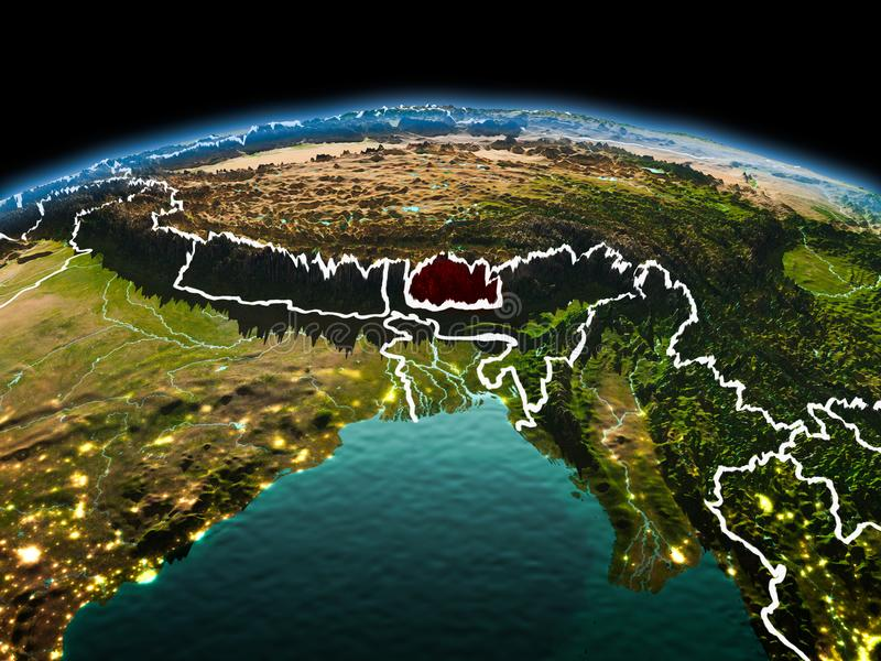 Bhutan on planet Earth in space. Morning above Bhutan highlighted in red on model of planet Earth in space with visible border lines and city lights. 3D royalty free stock photos