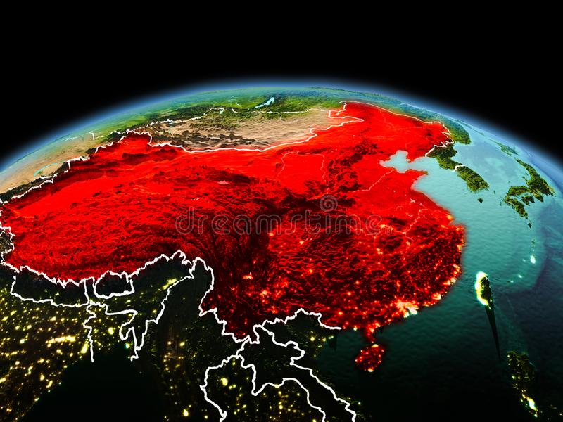 China on planet Earth in space. Morning above China highlighted in red on model of planet Earth in space with visible border lines and city lights. 3D royalty free stock photography