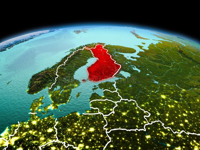 Finland on planet Earth in space. Morning above Finland highlighted in red on model of planet Earth in space with visible border lines and city lights. 3D stock photos