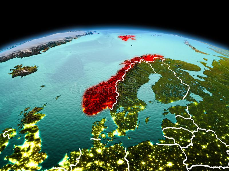 Norway on planet Earth in space. Morning above Norway highlighted in red on model of planet Earth in space with visible border lines and city lights. 3D royalty free stock photo