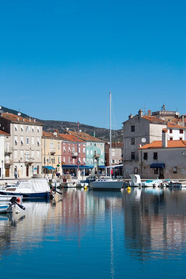 Morning in Adriatic town Cres stock images