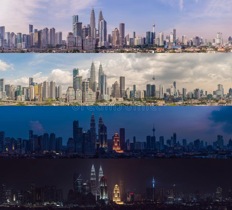 Morning afternoon Evening Night. Four time of day. Kuala Lumpur skyline, view of the city, skyscrapers with a beautiful royalty free stock photography