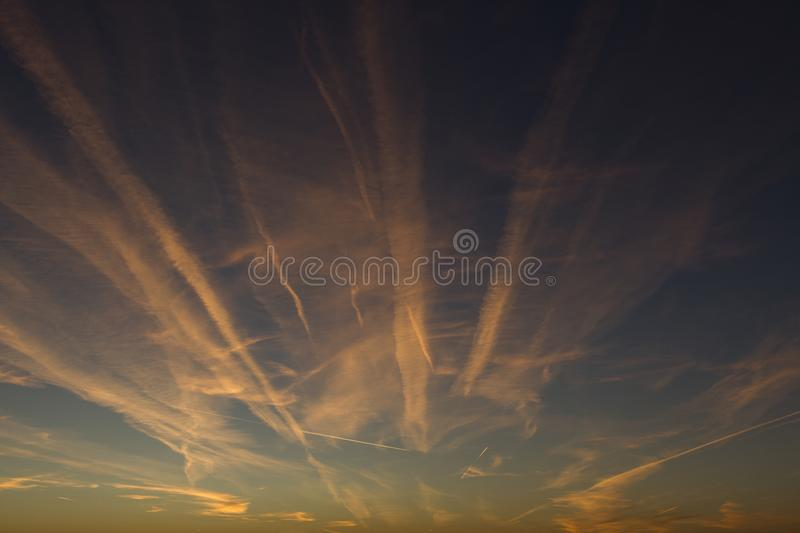 Morning Airplane Trails royalty free stock photo